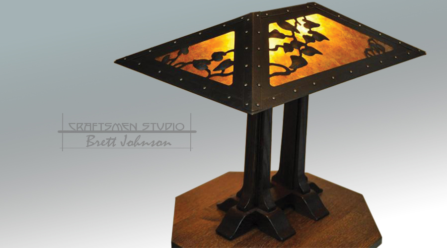 Charles Limbert Copper Table lamp | Reproduction Limbert Arts and Crafts Table Lamp