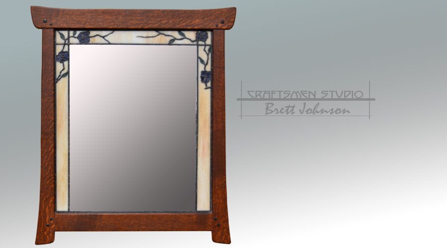 Arts and Crafts mirror with leaded glass border