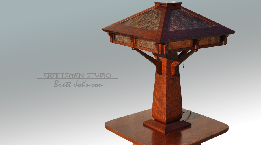 Arts and Crafts Table Lamp | Hand Made Oak Table Lamp